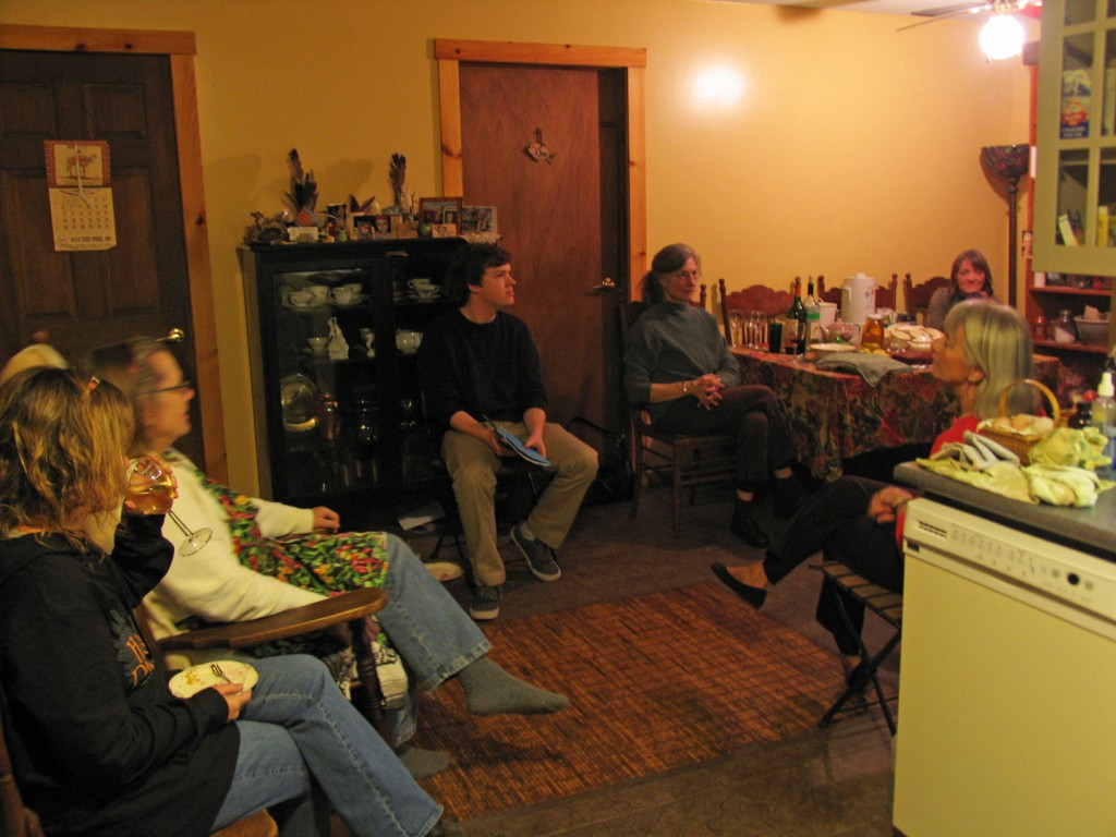 Coordinator Chris Demers talks about Southeastern Massachusetts Time Exchange at a potluck hosted by Time Exchange member Sue Dutra.  Photo Courtesy of Karen Talbot.